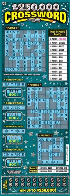 $250,000 Crossword #1191 | Arizona Lottery