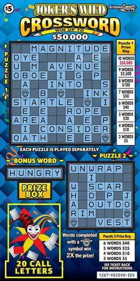 Joker S Wild Crossword 1267 Arizona Lottery